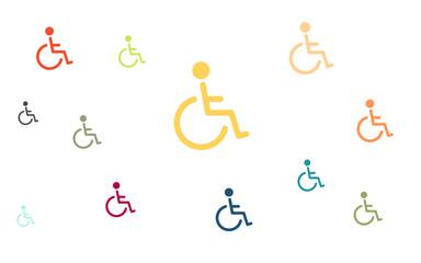 Viele bunte Rollstuhlfahrer