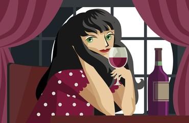 girl tasting red wine