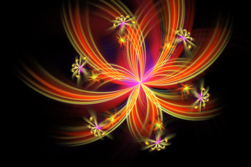 Abstract fantastic fiery flower on black background. Fantasy asymmetrical fractal design in orange and purple colors. 3D rendering.