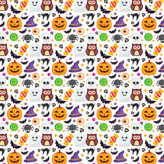 Seamless Halloween Pattern, set icon, vector halloween on white background. texture for wallpaper, wrapping paper and etc.