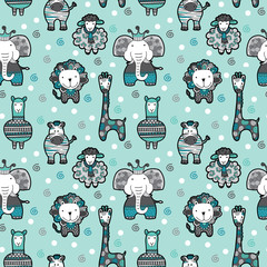 Cute group of animal friends seamless pattern ideal for a background for newborn or birthday celebrations, invitations and parties.