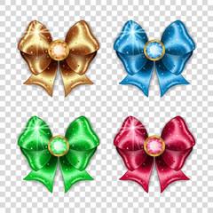 Set of colorful gift bows on transparent background. Vector illustration.