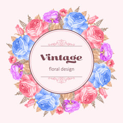 Greeting card or invitation template with roses. Vector Illustration in retro style.