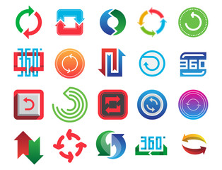 Angle 360 degrees web icons shape mark vector illustration geometry math signs badge full information symbols