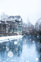 Strasbourg for Christmas with snow in Alsace, France
