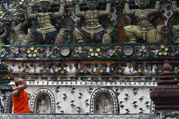 The view around Temple of Dawn (Wat Arun) in Bangkok, Thailand