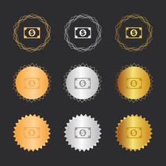 Geldschein Dollar - Bronze, Silber, Gold Medaillen