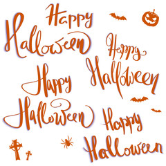 Hand-written lettering with greetings for Halloween