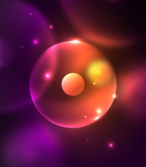 Blurred glowing circles, digital abstract background