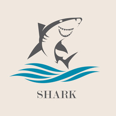 Icon of Smiling shark with sea waves. Creative vector symbol of fishing club or fishing shop.