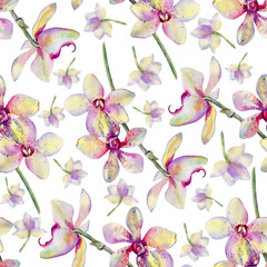 Seamless floral pattern, Orchid flowers watercolor hand drawn botanical illustration isolated on white background for design package cosmetic, greeting card, wedding invite, florist shop, beauty salon