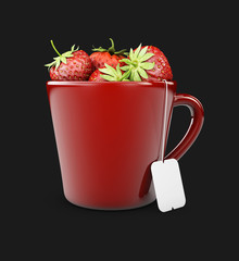 Fruit tea with strawberries, isolated white, 3d Illustration