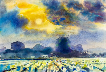 Colorful of mountain and rice field in emotion of sunset
