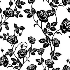 Rose seamless pattern. Black and white seamless pattern with flowers roses and leaves. Floral seamless background. Flat design. Rose vector