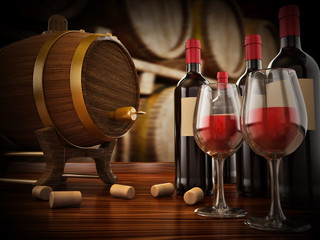 Wine bottle, corks, glasses and barrel. 3D illustration