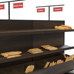 Bakery Slatted Shelf Fixture on white. 3D illustration