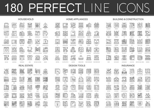 180 outline mini concept infographic symbol icons of household, home appliances, building construction, real estate, design tools, insurance.