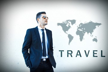 concept of travel, businessman with world map