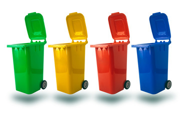 multiple color for separate type of waste open cap plastic trash bin or recycle bin garbage bin