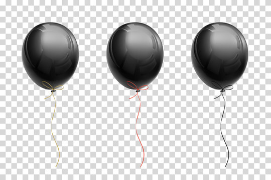 Black flying balloon with ribbons of gold, red, black on a transparent background
