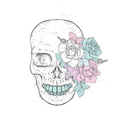 Stylish skull with beautiful roses. Fashion & Style. Vector illustration for a postcard or a poster, print for clothes.