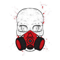 A stylish skull masked respirator for drawing graffiti. A print on clothes or an illustration for a postcard and a poster. Vector drawing.