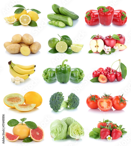 Obst und Gemüse Früchte Apfel Erdbeeren Tomaten Farben Collage ...