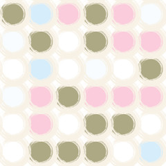 Abstract vector geometric seamless pattern with brush stroke circles  in soft pastel colors.