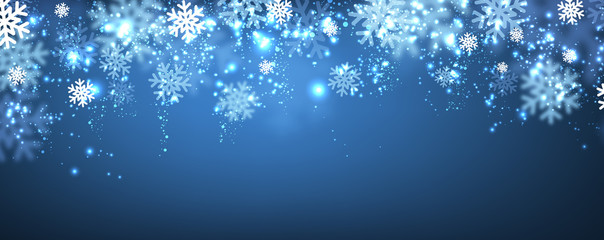 Blue winter banner with snowflakes.