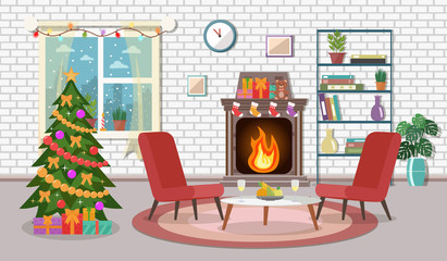 Christmas room interior. Christmas tree in the cozy living room. Flat design.