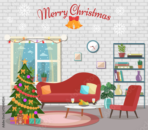 "Cozy Living Room Vector Illustration: ""Christmas Room Interior. Christmas Tree In The Cozy"