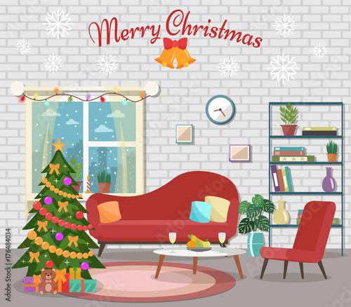 "Christmas Room Stock Vector Image Of Illuminated: ""Christmas Room Interior. Christmas Tree In The Cozy"