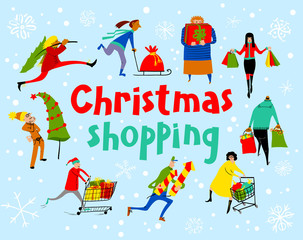 Shopping people set. Christmas sale lettering. Group of people in rush time in winter holidays eve