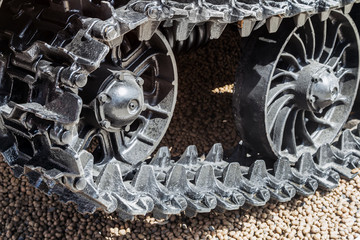 tracks on the tractor. details of construction equipment and transport