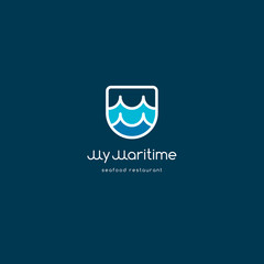 M seafood restaurant logo. Seafood logo. Fish market emblem. Double M letters.  M monogram. Wave logo.