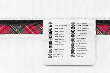 Wall Mural - Fabric composition label