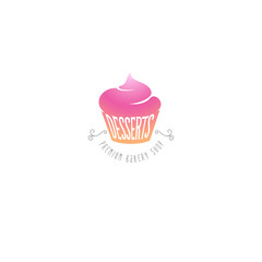 Bakery logo. Cupcakes and desserts sweet shop emblem.