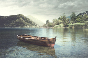 Wooden boat floating in the water