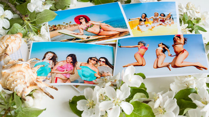 Many bright colored photos of girls in a swimsuit at the resort