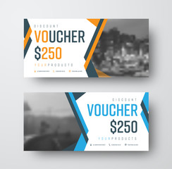 Vector gift voucher template with abstract colored lines and place for photo
