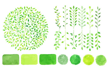 Set of watercolor logotypes. Green leaves, branches, plants elements, laurels