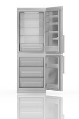 Modern refrigerator isolated on white 3D illustration