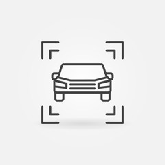 Vector car icon in thin line style