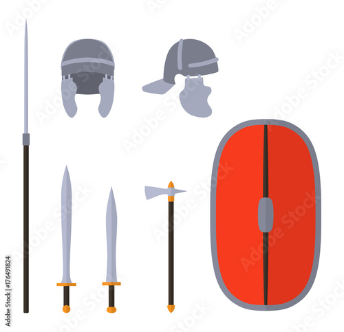 Set of ancient roman weapon and protective equipment  Spear, sword
