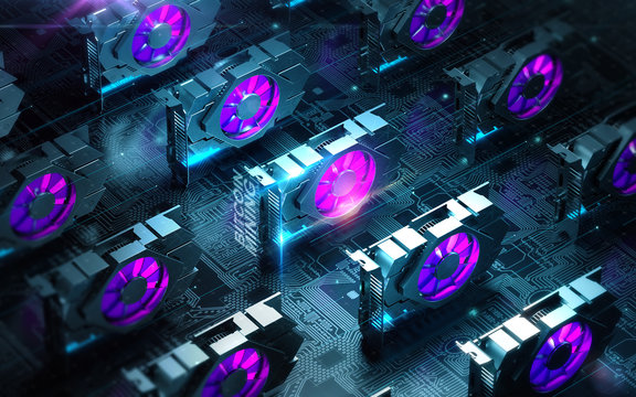 abstract cyber space with multiple gpu videocards farm. Blockchain Cryptocurrency Mining Concept. 3D render