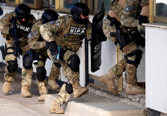 Participants of EUFOR, Armed Forces, Border Police and SIPA of Bosnia and Herzegovina practice an anti-terrorism situation during an exercise at the Sarajevo International Airport