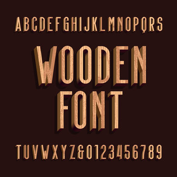 Wood retro alphabet vector font. Letters and numbers. Stock vector typeface for your headers and any typography design.