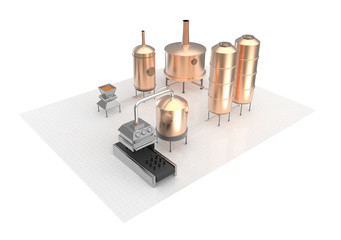 Beer brewing process, production, brewery production