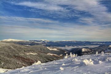 Beautiful winter landscape. Carpathian mountains, Ukraine.