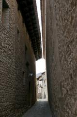 Narrow street in Mirambel in the Maestrazgo, Teruel, Spain